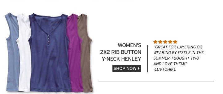 2x2 Rib Button Y-Neck Henley