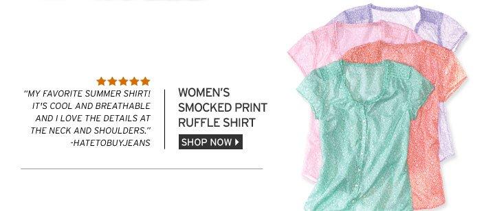 Smocked Print Ruffle Shirt