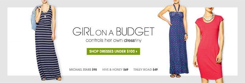 GIRL ON A BUDGET controls her own dresstiny | SHOP DRESSES UNDER $100 | MICHAEL STARTS $98 | HIVE & HONEY $69 | TINLEY ROAD $49