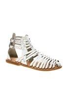 ASOS FICTION Leather Gladiator Flat Sandals