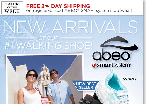 New Feature of the Week! Enjoy FREE 2nd Day Shipping on NEW and classic styles from ABEO SMARTsystem, our #1 walking shoes.* Shop our new best-selling style, plus new arrivals and more for women and men. Find the best selection online and in-stores at The Walking Company.