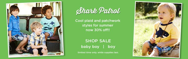 Shark Patrol. Cool plaid and patchwork styles for summer now 30% off! Shop sale. Limited time only. While supplies last.