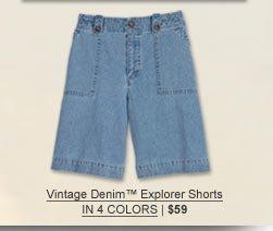 "Vintage Denimâ""¢ Explorer Shorts in 4 colors | $59"