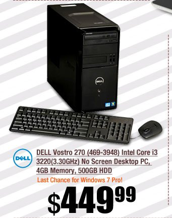 DELL Vostro 270 (469-3948) Intel Core i3 3220(3.30GHz) No Screen Desktop PC, 4GB Memory, 500GB HDD