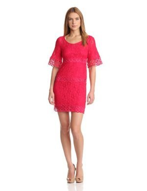 laundry BY SHELLI SEGAL <br/> Petite Bell Sleeve Lace Shift Dress