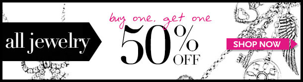 ALL JEWELRY - Buy One, Get one 50% OFF! SHOP NOW!