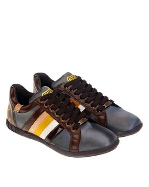 Frankie Morello Men's Paneled Design Leather Sneakers Made In Europe