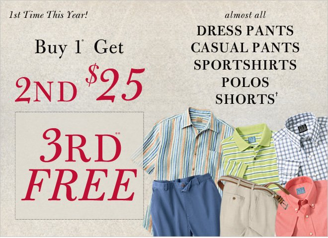 Buy 1* Sportshirt, Polo, Short or Pant†, Get 2nd** $25 USD & 3rd** Free