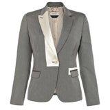 Grey Pique Contrast Revere Jacket