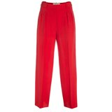 Red Pleated Front Silk Trousers