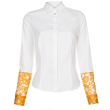 White Contrast Sleeve Shirt