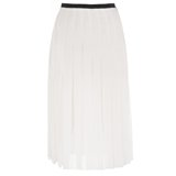 Cream Pleated Crepe Skirt