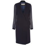 Navy Crepe Wool Shawl Collar Dress