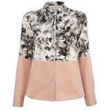 Grey Collage Floral Print Split Silk Shirt
