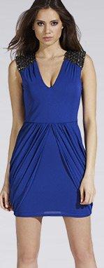 Embellished Shoulder Drape Shift Dress