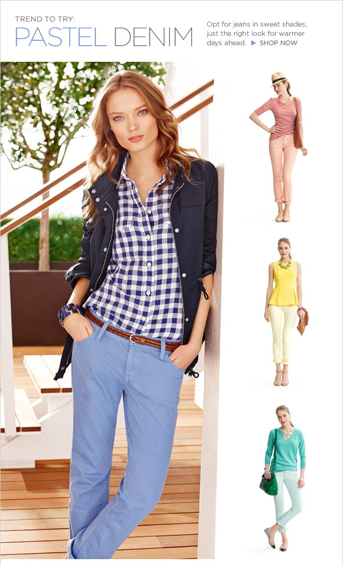 TREND TO TRY: PASTEL DENIM | Opt for jeans in sweet shades, just the right look for warmer days ahead.   SHOP NOW