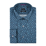 Petrol Blue Poppy Print Shirt