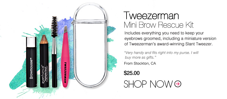 """Tweezerman Mini Brow Rescue Kit Includes everything you need to keep your eyebrows groomed, including a miniature version of Tweezerman's award-winning Slant Tweezer. """"Very handy and fits right into purse. I will buy more as gifts."""" –From Stockton, CA Price: $25.  Shop Now>>"""