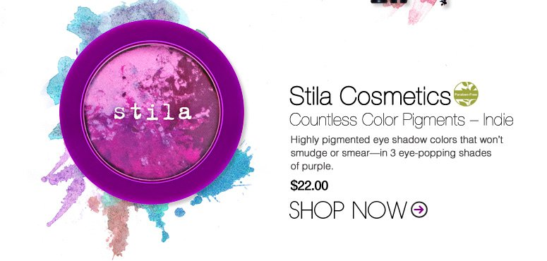 Paraben-free Stila Cosmetics Countless Color Pigments – Indie Features 3 shades of purple swirled into one. $22 Shop Now>>