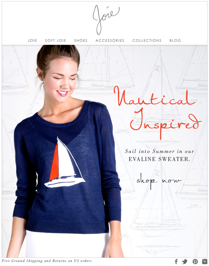 Nautical Inspired Sail into Summer in our EVALINE SWEATER. shop now