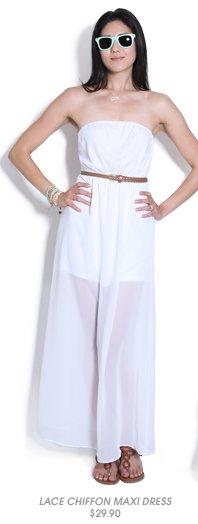 Shop Lace Chiffon Maxi Dress