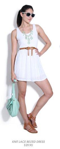 Shop Knit Lace Belted Dress