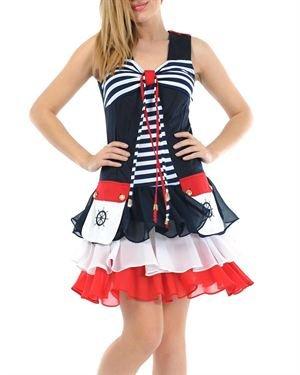 Via Bellucci Ruffle Embellished Nautical Dress Made in Europe