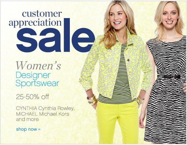 Customer Appreciation Sale. Womens Designer Sportswear 25-50% off. Shop now.