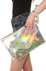 The Janelle Clutch in Hologram Multi