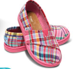 Pink Madreas Plaid Tiny TOMS Classics