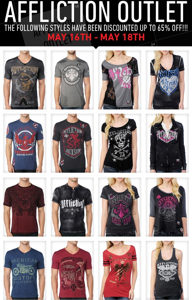 Affliction Outlet Now Open Up to 65% off!