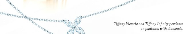 Tiffany Victoria and Tiffany Infinity pendants in platinum with diamonds.