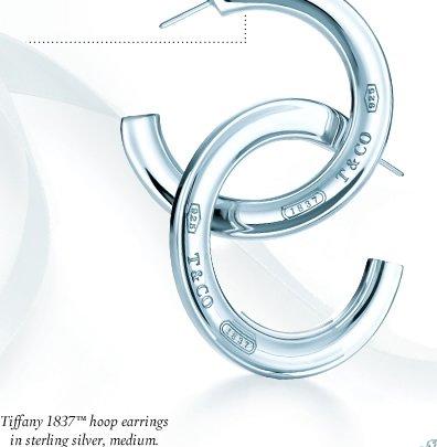 Tiffany 1837™ hoop earrings in sterling silver, medium.