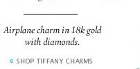 Airplane charm in 18k gold with diamonds. - SHOP TIFFANY CHARMS