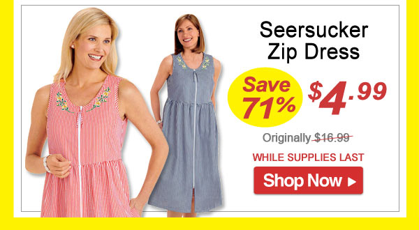 Seersucker Zip Dress - Save 71% - Now Only $4.99 Limited Time Offer