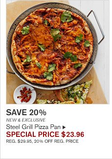 SAVE 20% - NEW & EXCLUSIVE - Steel Grill Pizza Pan - SPECIAL PRICE $23.96 (REG. $29.95, 20% OFF REG. PRICE)