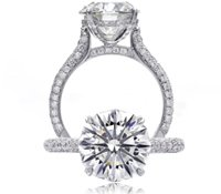 Christopher Designs crisscut round engagement ring