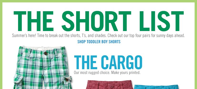 THE SHORT LIST | SHOP TODDLER BOY SHORTS | THE CARGO