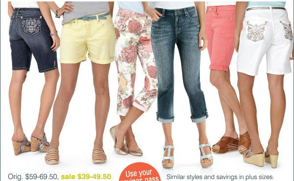 Orig. $59-69.50, sale $39-49.50. Similar styles and savings in plus sizes. Use your savings pass to save even more!