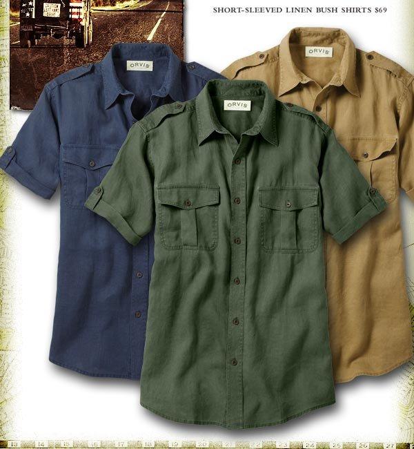 Short-sleeved Linen Bush Shirts $79