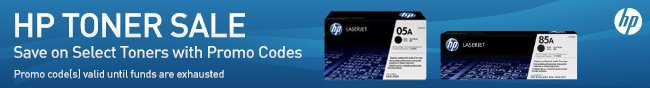 HP TONER SALE. Save on Select Toners with Promo Codes. Promo code(s) valid until funds are exhausted.