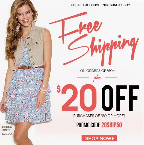 Limited Time Only! Free Shipping with $50 Purchase. Plus, $20 Off $80