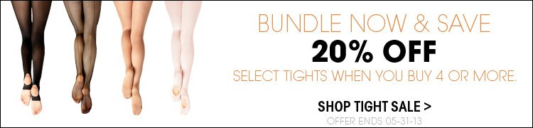 Bundle Now and Save - 20% Off select tights when you buy for or more! ends 5/31/2013