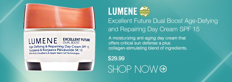 Paraben-free Lumene - Excellent Future Dual Boost Age-Defying and Repairing Day Cream SPF 15  A moisturizing anti-aging day cream that offers critical sun defense a plus collagen-stimulating blend of ingredients. $29.99 Shop Now>>