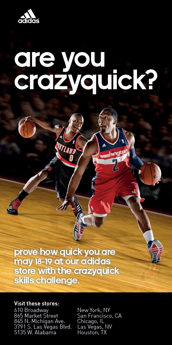 are you crazyquick? prove how quick you are may 18-19 at our adidas store with the crazyquick skills challenge