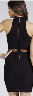 High Neck Cutaway Shoulder Shift Dress