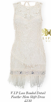 V I P Lace Beaded Detail Feather Hem Shift Dress