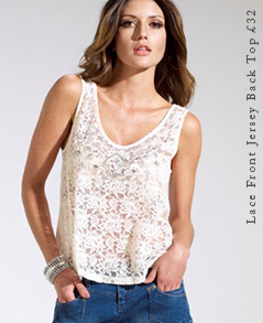 Lace Front Jersey Back Top