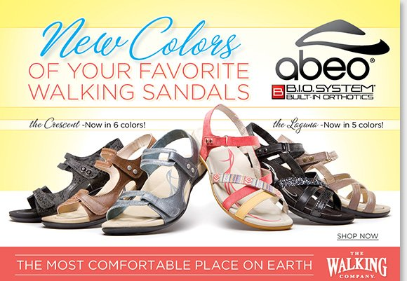 Shop the stylish new 'Crescent' and 'Laguna' colors from ABEO B.I.O.system, your favorite walking sandal collection. Experience revolutionary custom 3-D fit comfort, and the benefits of increased stability, and reduced shock and stress on joints. Find the best selection online and in-stores now at The Walking Company.