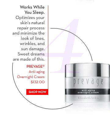 4. Works While You Sleep. Optimizes your skin's natural repair process and minimize the look of lines, wrinkles, and sun damaged. Sweet dreams are made of this.  PREVAGE® Anti-aging Overnight Cream $132.00. SHOP NOW.